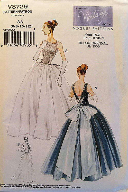 Vogue Vintage Model 8729. Retro 1956 Bridal or Ball Gown