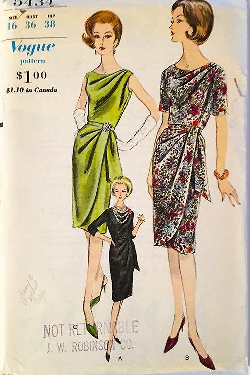 Vogue 5434. Slim Draped1962 Cocktail dress.