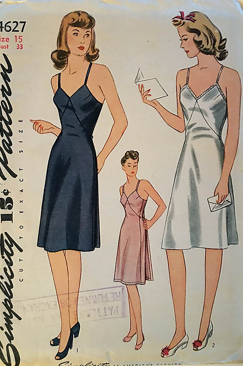 Simplicity 4627. Retro 1940s junior miss slip patterns