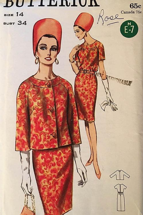 Butterick 3550. vintage 1965 dress and coordinating jacket.