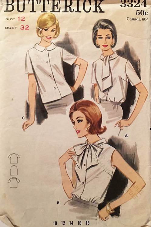 Butterick 3324. Three blouse patterns from 1960