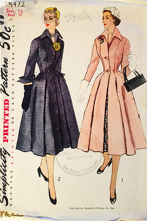 Simplicity No. 8472 Coat Dress  c 1950s princess seams