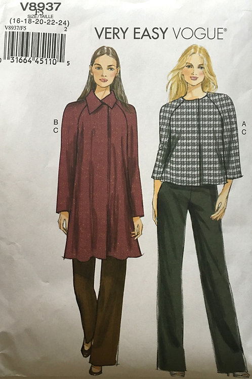 Vogue 8937. Flared coat or jacket and straight leg pants.