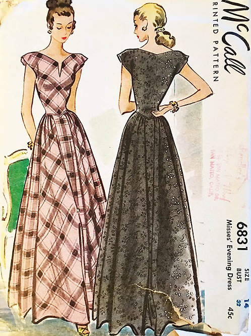 McCall 6831 Retro 1947 evening gown with wide neckline and big skirt.