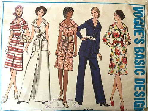 Vogue 2470 retro seventies safari style jacket, pants, dress