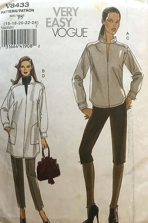 Vogue 8433 Detailed tunic/jacket with long sleeves, pants