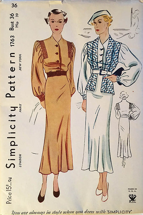 Simplicity 1763. Original vintage circa 1934 dress pattern
