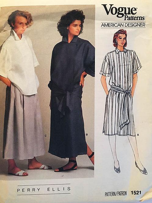 Vogue American Designer 1521; Perry Ellis ©1985; Oversize Shirt Dress