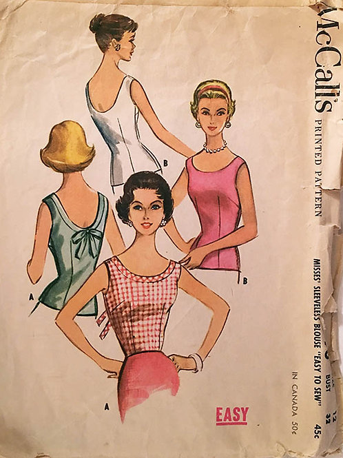 McCall's 1950s ; Variety of sleeveless top patterns