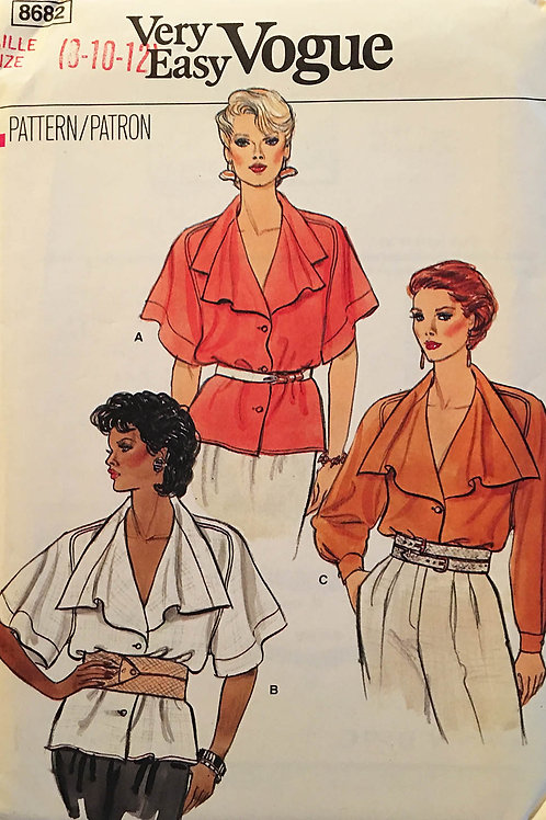 Vogue 8682. Button front shirt with waterfall or big flat collar designs.