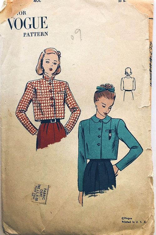 Junior Vogue 3104. circa 1948. Short boxy jacket