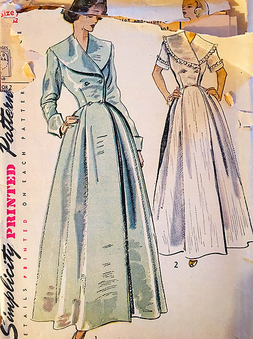Simplicity 2683  ©1949 Hostess gown or Housecoat: