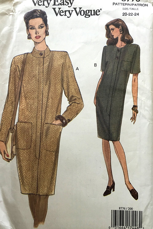Very Easy Vogue 8776. Loose fitting coat dress, plus size