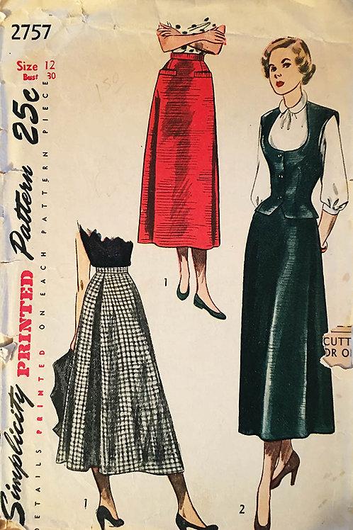 Simplicity 2757. Retro 1940s Skirt and weskit pattern.