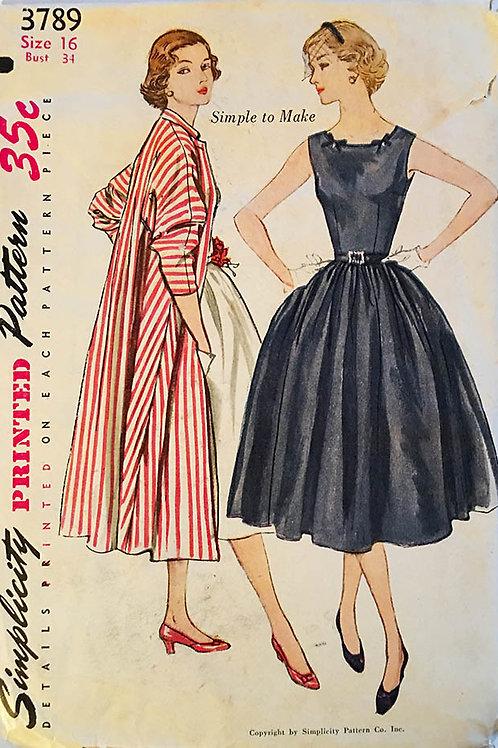 Simplicity 3789 retro 1950s dress and coat
