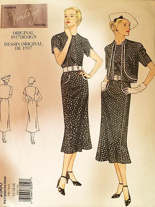Vogue Vintage 2560. Reissue of 1937 pattern. Dress and Bolero