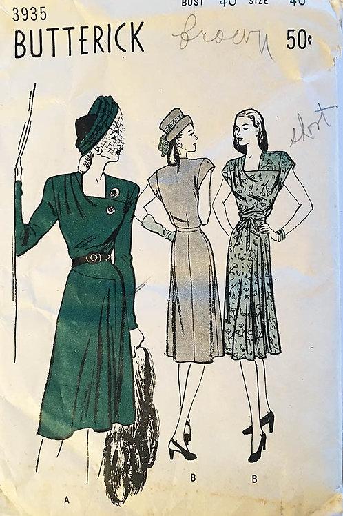 Butterick 3935. mid 1940s; DrapedDresses.
