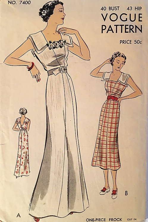 Vogue 7400. Beautiful 1930s dress or gown. RARE large size