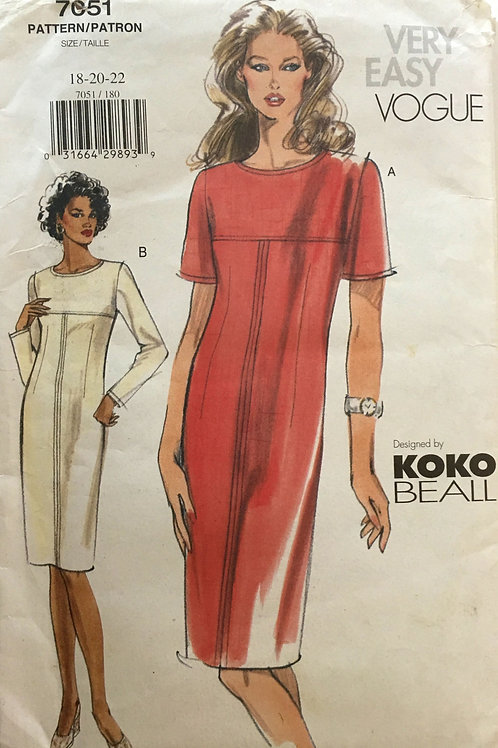 Vogue 7051. Koko Beall top-stitched dress w/ panel yoke