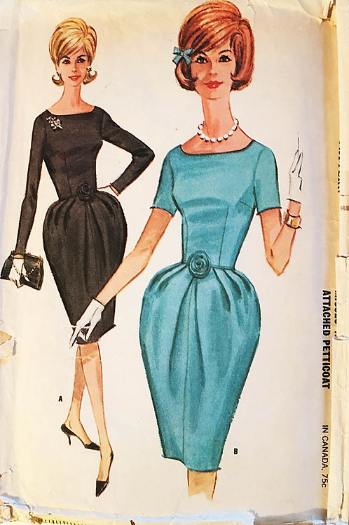 McCall's 6523. Retro 1960's cocktail dress with attached net petticoat