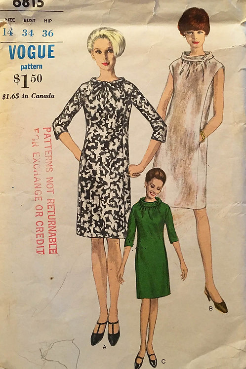 Vogue 6815. Mod 1960s dresses with rounded stand collar