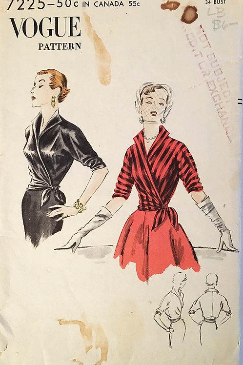 Vogue 7225. Retro 1950s Wrap and tie blouse.