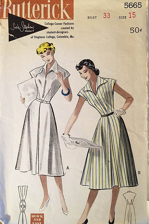 Butterick 5665. College/career fashions (1950)