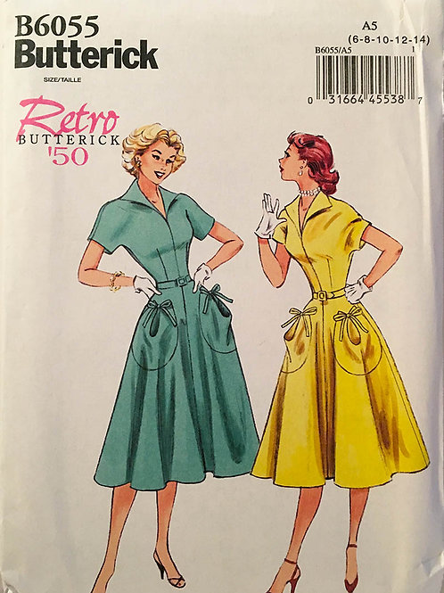 Butterick B6055, Re-issue 1950 design. Pullover dress