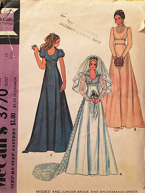 McCall's 3770. Retro 1970s bridal gown and bridesmaids gowns