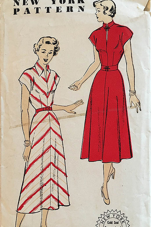 New York Pattern 623. Retro1940s Day Dress. Bias skirt.