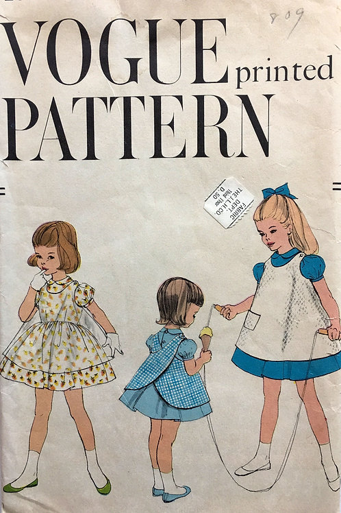 Vogue 2833 vintage 1950's young girl's dress and apron