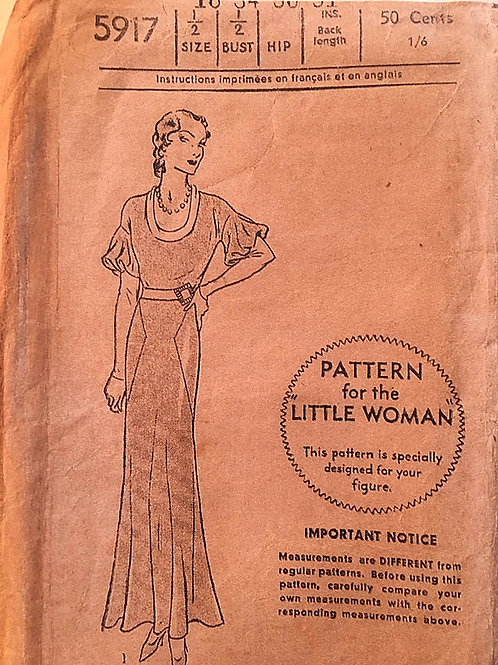 Pictorial Review 5917, Three Vintage 1930s Bias Dress options