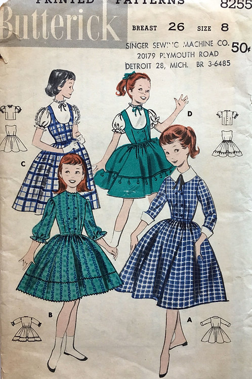 Butterick 8255 Girls Dress, Jumper, and Blouse from 1957