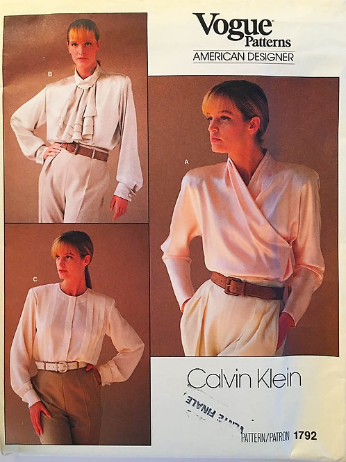 Vogue 1792 Calvin Klein Three classic Blouses from 1980s.
