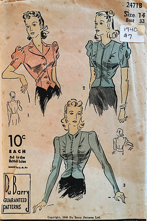 DuBarry 2471B. Vintage Ladies Shirt patterns from 1940