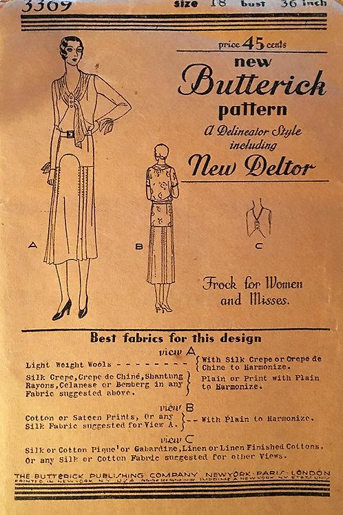 Butterick 3369 original 1920s butterick dress patterns with deltor.