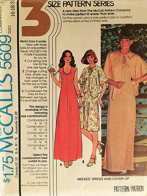 McCall's 5609   Retro 70's slinky dress and batwing jacket.