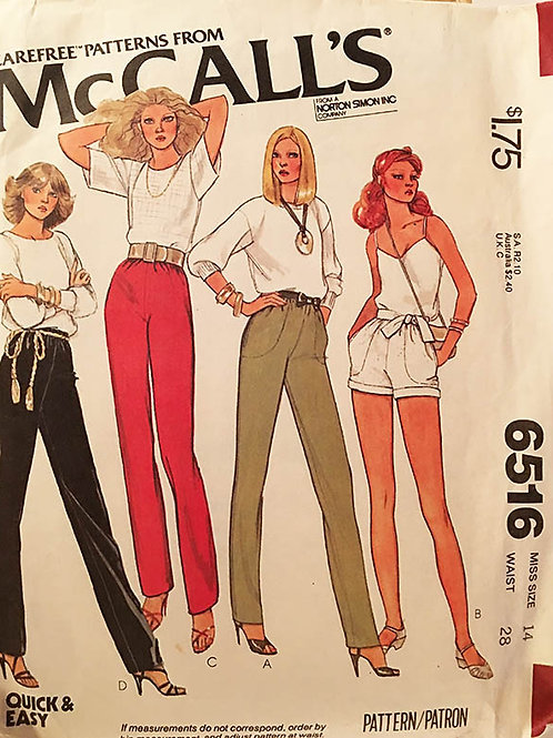 McCall's 6516 Retro 70's pants and shorts.
