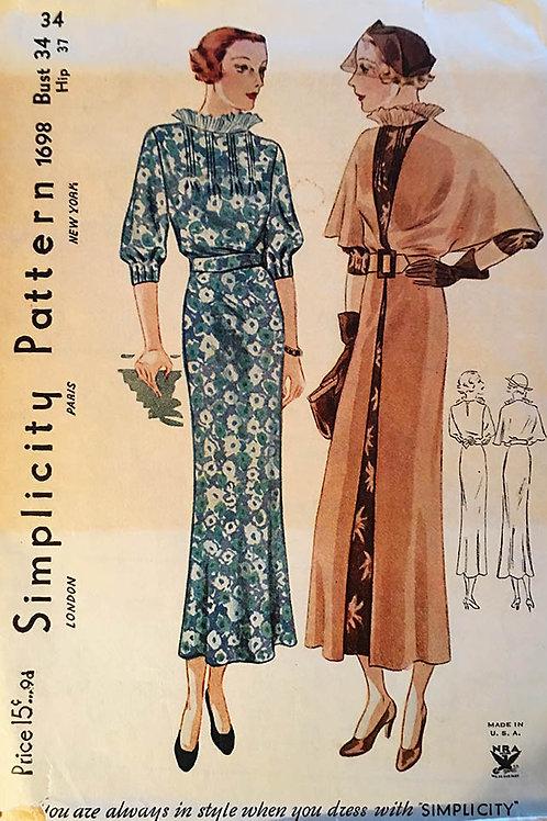 Simplicity 1698 Rare original bias dress and overcoat. circa 1934