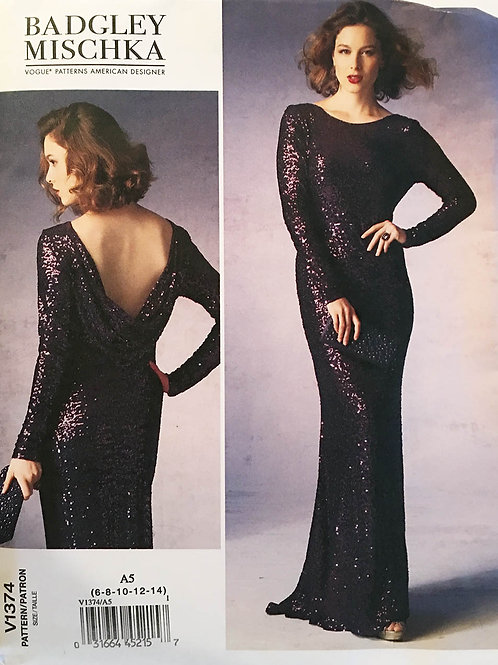 Vogue 1374  Bagley Mischka. evening gown with fishtail and bias cowl.