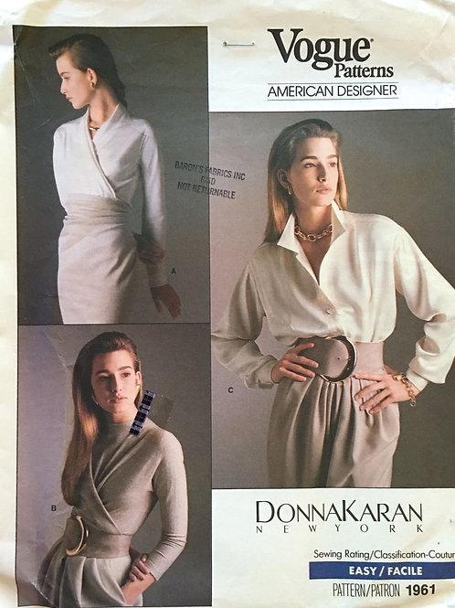 Vogue 1961. Donna Karan. Bias, Tie-front and bodysuit Blouses