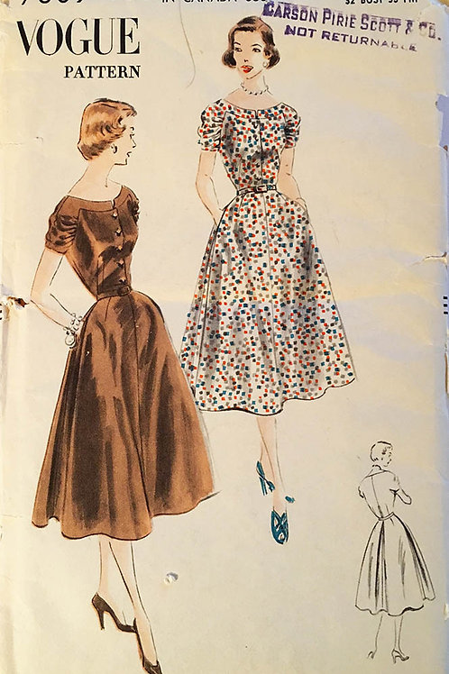 Vogue 7609 -Romantic dress from 1952;