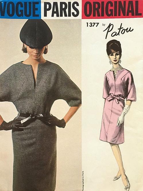 Vogue Paris Original 1377. Patou dress with Neck slit, dolman sleeves