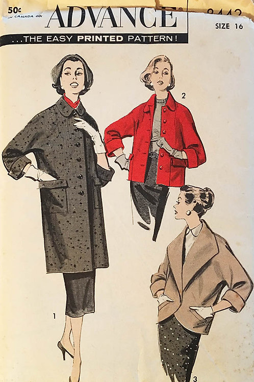 Advance 3443 1940s Coat and jacket patterns