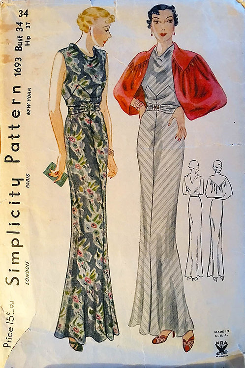 Simplicity 1693, Fabulous 1930s bias gowns and evening jacket!