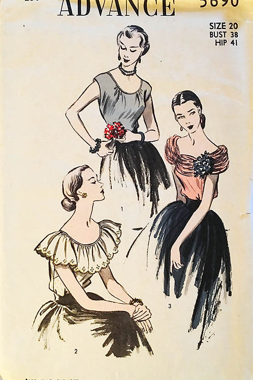 Advance 5690 peasant style blouses, 1951
