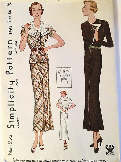 "Simplicity 1493. Original 1930's ""NRA"" dress patterns"