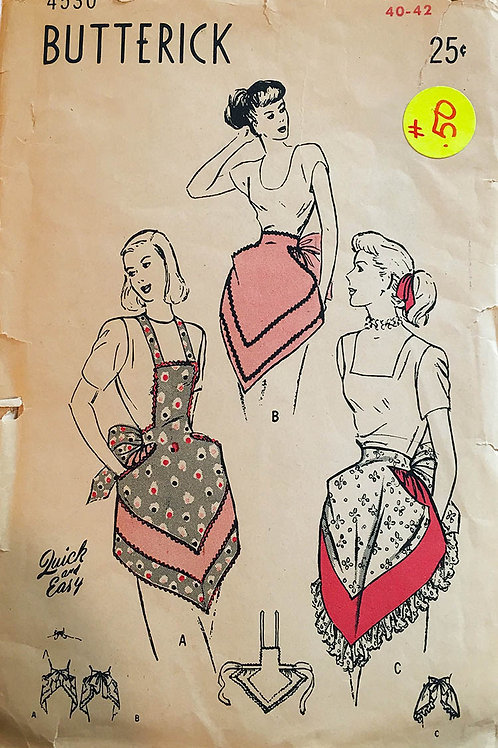 Butterick 4530. Apron styles from the 1940s.