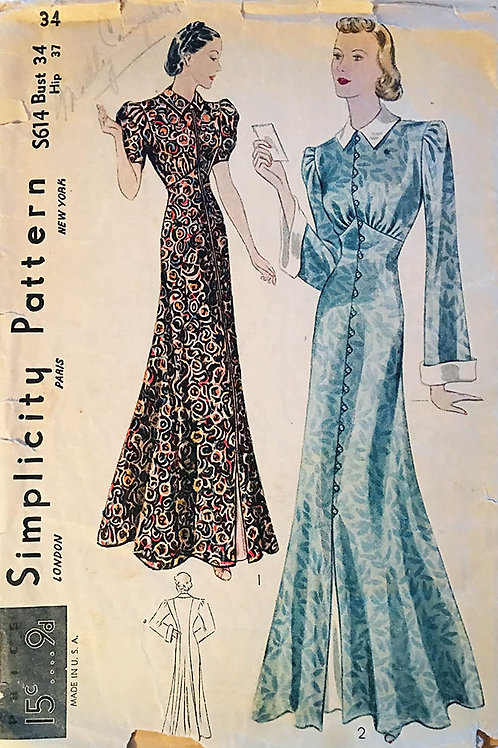 Simplicity S614 Housecoats from the 1930s.