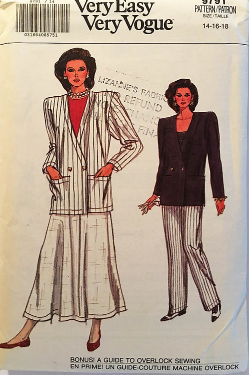 Vogue 9791. Very 80s Jacket, Pants, and Skirt